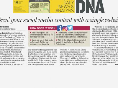 Own your social media content with a single website - DNA Ahmedabad