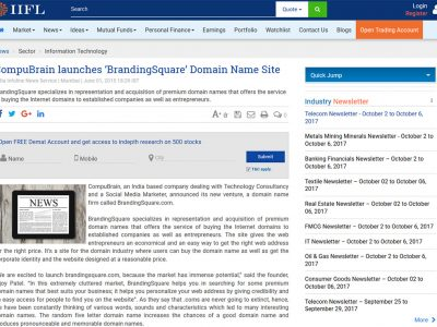CompuBrain launches 'BrandingSquare' Domain Name Site | IIFL