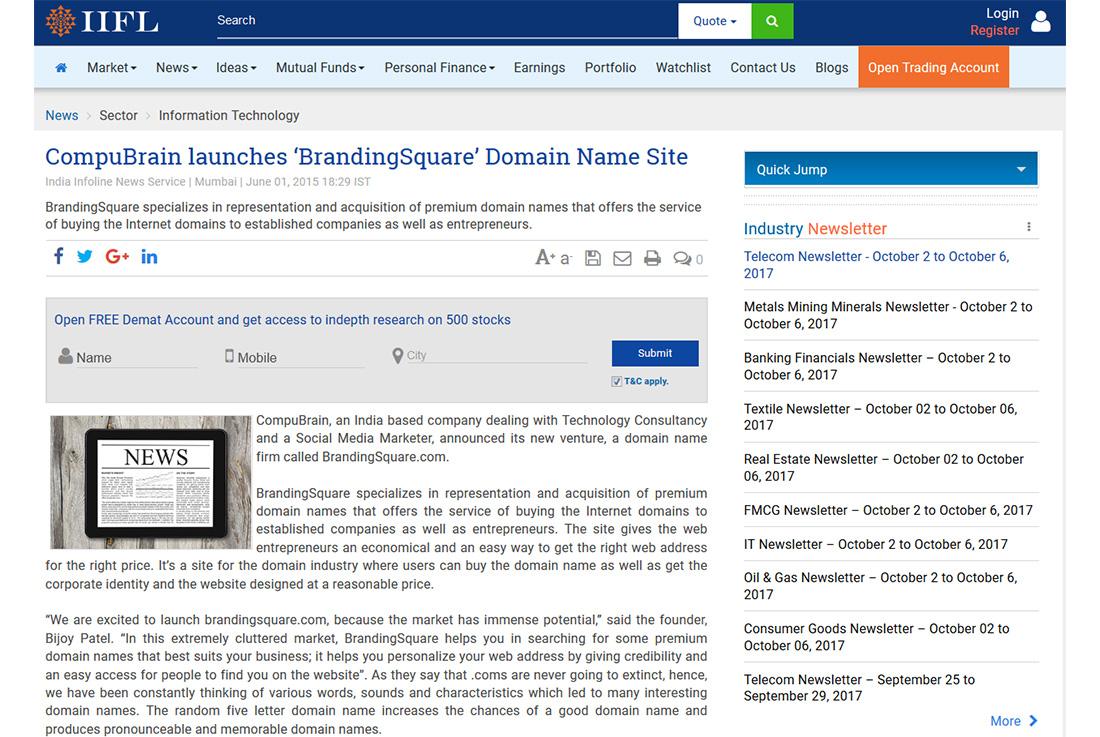 CompuBrain launches 'BrandingSquare' Domain Name Site