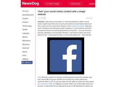 'Own' your social media content with a single website - NewsDog
