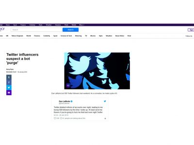 Twitter influencers suspect a bot 'purge' - Yahoo! News UK