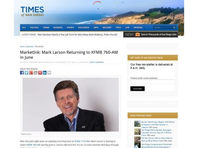 MarketInk: Mark Larson Returning to KFMB 760-AM in June