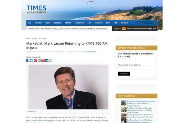 MarketInk: Mark Larson Returning to KFMB 760-AM in June