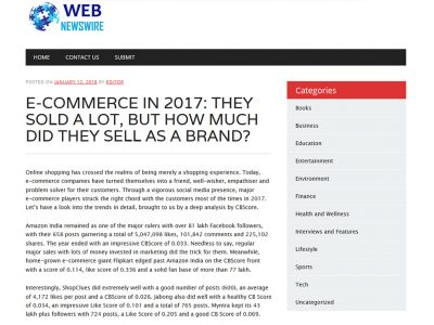 E-Commerce In 2017: They Sold A Lot, But How Much Did They Sell As A Brand? | WenNewsWire