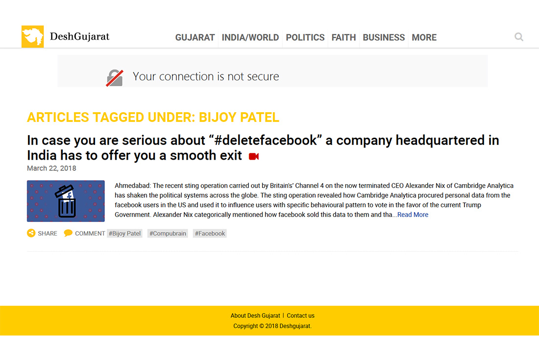 "In case you are serious about ""#deletefacebook"" a company headquartered in India has to offer you a smooth exit"